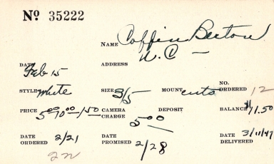 Index card for Berton Coffin