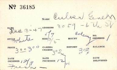 Index card for Gene M. Culver