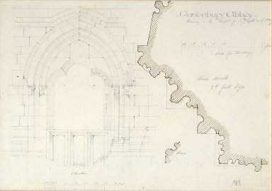 Doorway to the Chapel of Saint Joseph or [probably] Saint Mary, Glastonbury Abbey