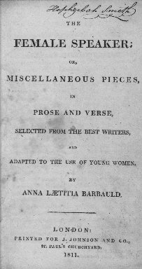 The female speaker; or, Miscellaneous pieces, in prose and verse
