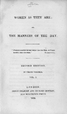 Women as they are; or, The manners of the day