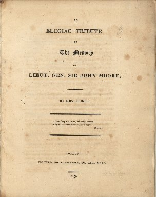 An elegiac tribute to the memory of Lieut. Gen. Sir John Moore