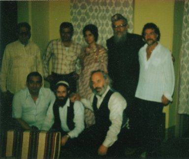 Rabbi Zalman Schachter, Paul Horn, Rabbi Shlomo Carlebach, and Rabbi David Zeller with members of the Bombay Jewish community, 1982.