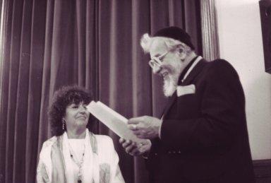 Rabbi Zalman Schachter-Shalomi giving smikhah (ordination) to Rabbi Leah Novick, pt. 1 of 3.
