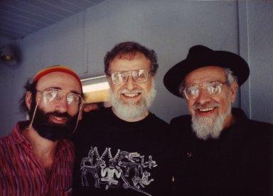 Dennis [undentified], Rabbi Shaya Isenberg, and Rabbi Zalman Schachter-Shalomi in March, 1992.