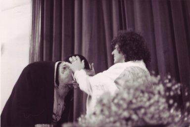 Rabbi Zalman Schachter-Shalomi giving smikhah (ordination) to Rabbi Leah Novick, pt. 2 of 3.