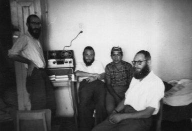 Shlomo Rosenfeld (right, foreground) at Kefar Habad (Israel) making a recording of Morroccan z'mirot (Jewish hymns).