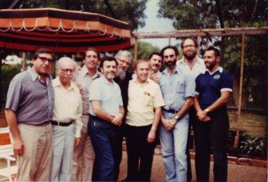 Rabbi Zalman Schachter-Shalomi (center) and Rabbi Rami Shapiro (far right) with a group of men in Florida.