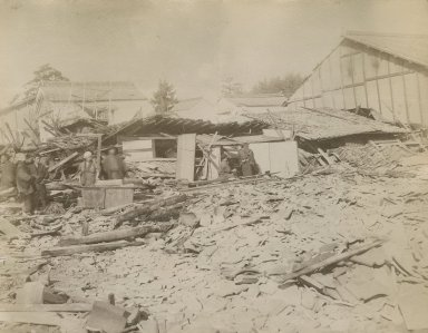 Remains of buildings destroyed by earthquake