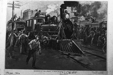 Woodcut: train guarded by federal troops 1894 Pullman strike, Chicago