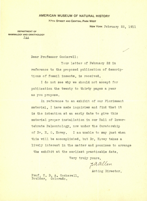 Letter from J. A. Allen to Theodore Cockerell