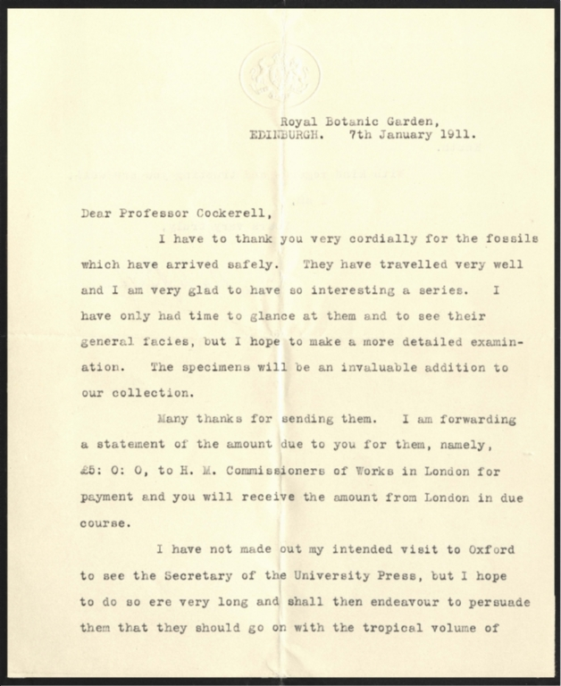 Letter from Isaac Bayley Balfour to Theodore Cockerell
