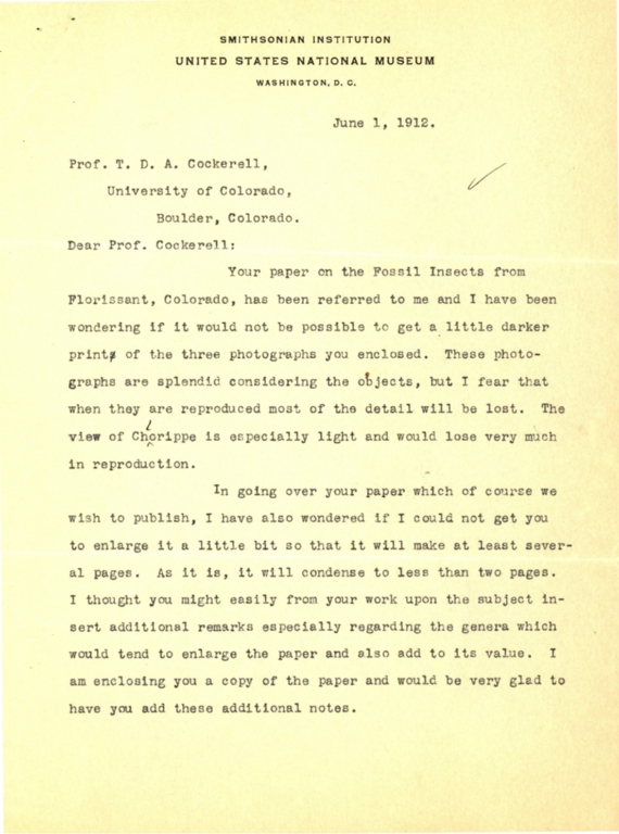 Letter from R. S. Bassler to Theodore Cockerell