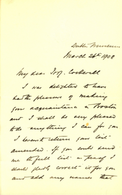 Letter from R. F. Scharff to Theodore Cockerell