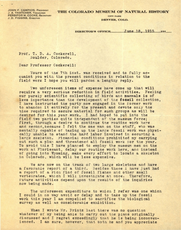 Letter from J. D. Figgins to Theodore Cockerell