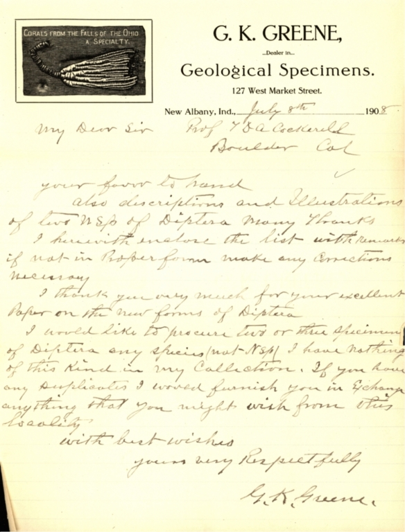 Letter from G. K. Greene to Theodore Cockerell