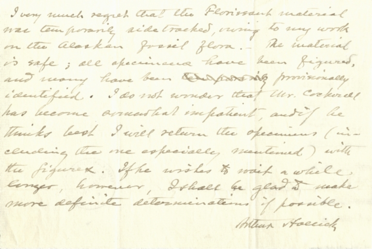 Note from Arthur Hollick to unidentified recipient
