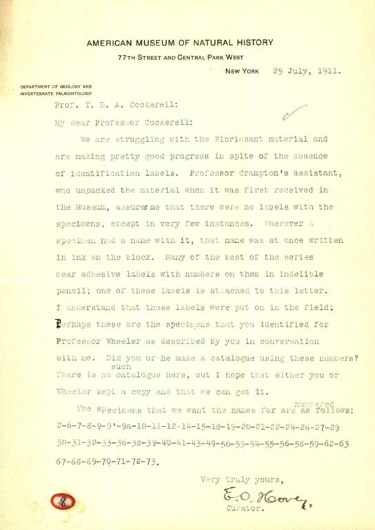 Letter from E. O. Hovey to Theodore Cockerell