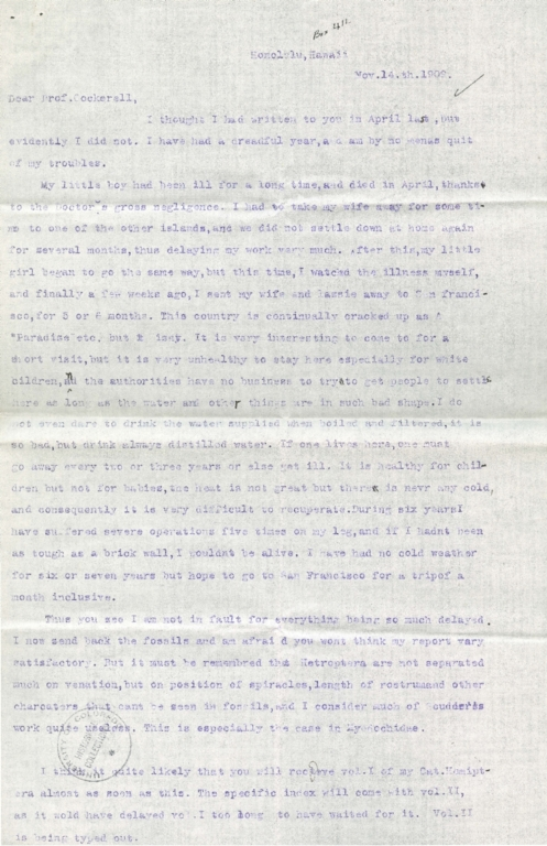 Letter from G. W. Kirkaldy to Theodore Cockerell