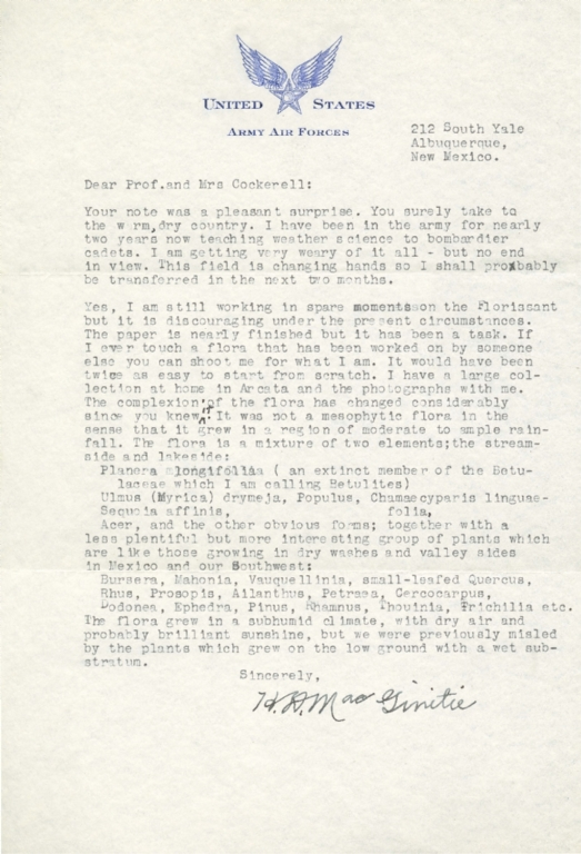 Letter from H. D. MacGinitie to Theodore Cockerell