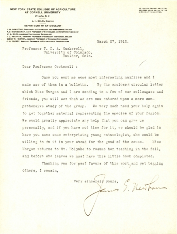 Letter from James G. Needham to Theodore Cockerell
