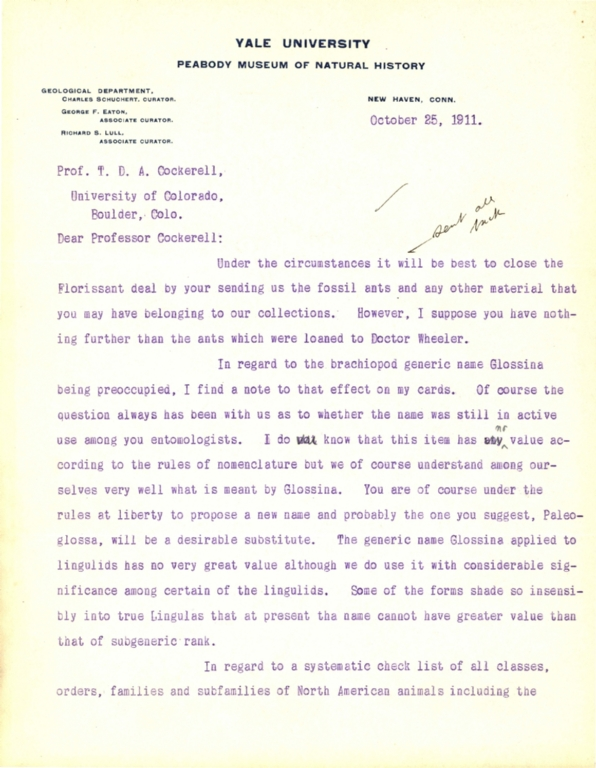 Letter from Charles Schuchert to Theodore Cockerell