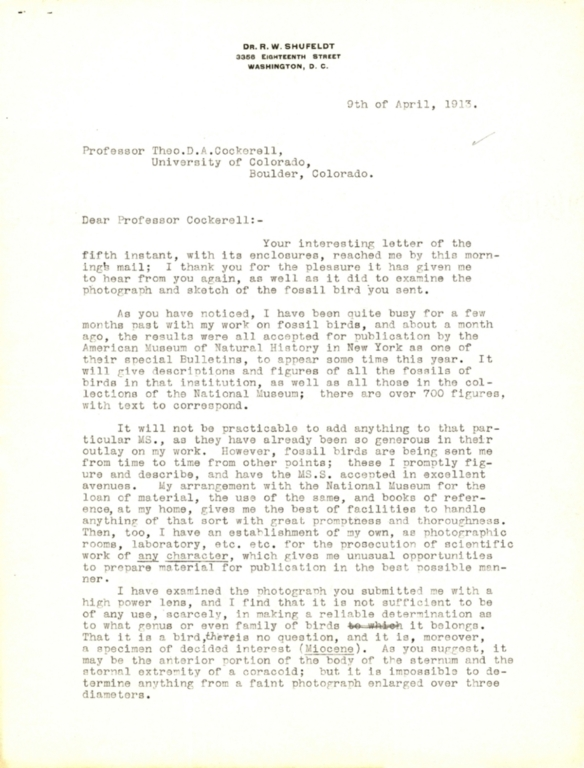 Letter from R. W. Schufeldt to Theodore Cockerell