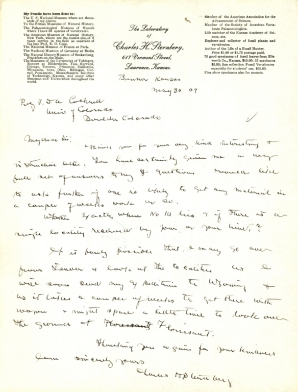 Letter from Charles H. Sternberg to Theodore Cockerell