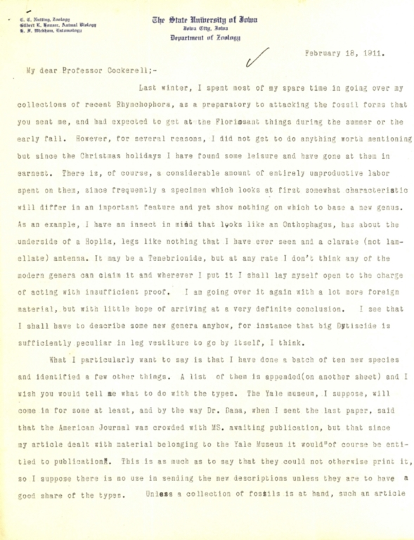 Letter from H. F. Wickham to Theodore Cockerell