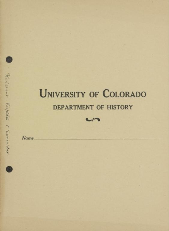 University of Colorado Department of History folder