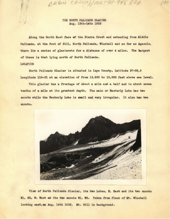 The North Palisade Glacier, Aug. 13th-14th, 1933