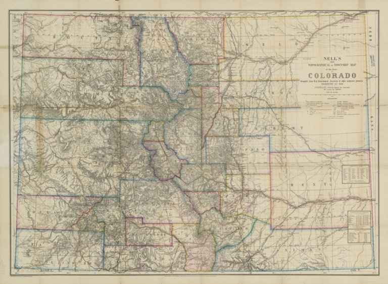 Nell's new topographical & township map of the state of Colorado