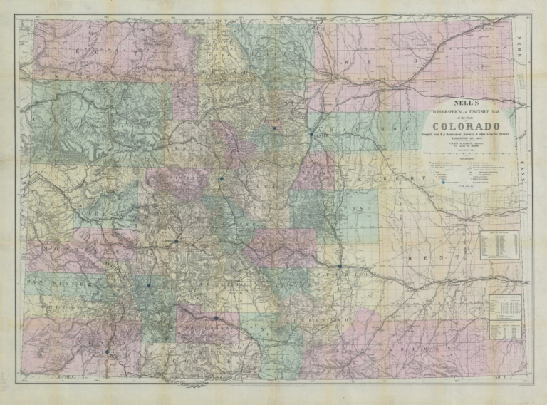 Nell's topographical & township map of the State of Colorado
