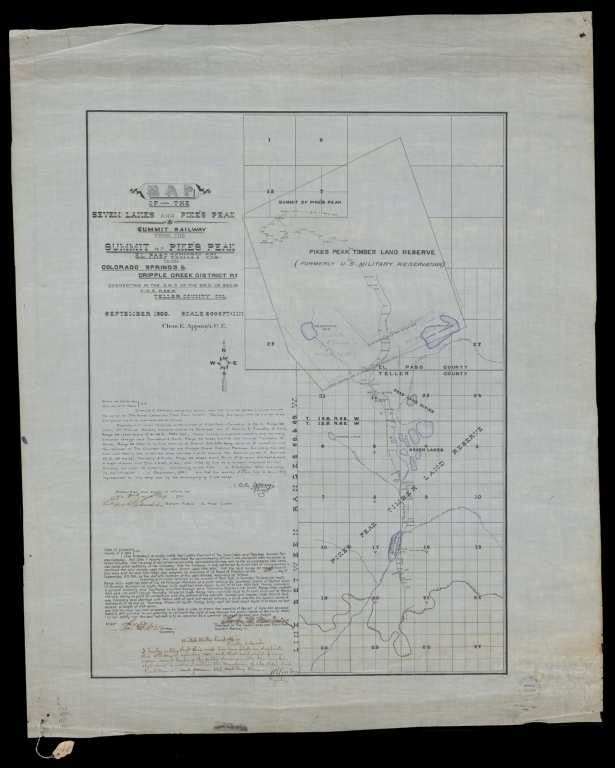 Map of the Seven Lakes and Pike's Peak Summit Railway from the summit of Pike's Peak, El Paso County Col. to the Colorado Springs & Cripple Creek District Ry, connecting in the S.W. 1/4 of the S.W. 1/4 of Sec. 21.T.15.S. R. 68W., Teller County Col.