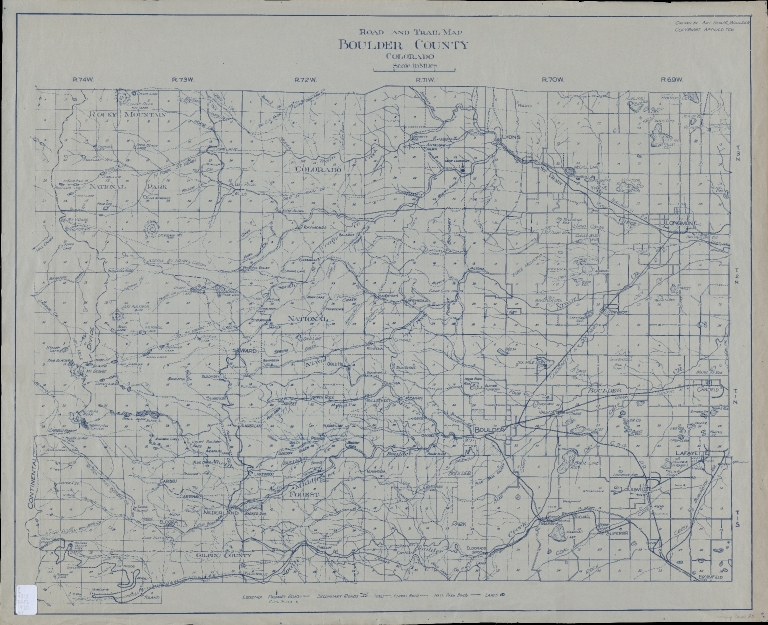 Road and trail map, Boulder County, Colorado
