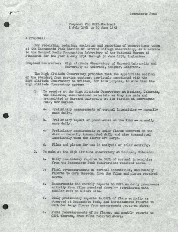 Proposal for CRPL Contract: 1 July 1951-30 June 1952