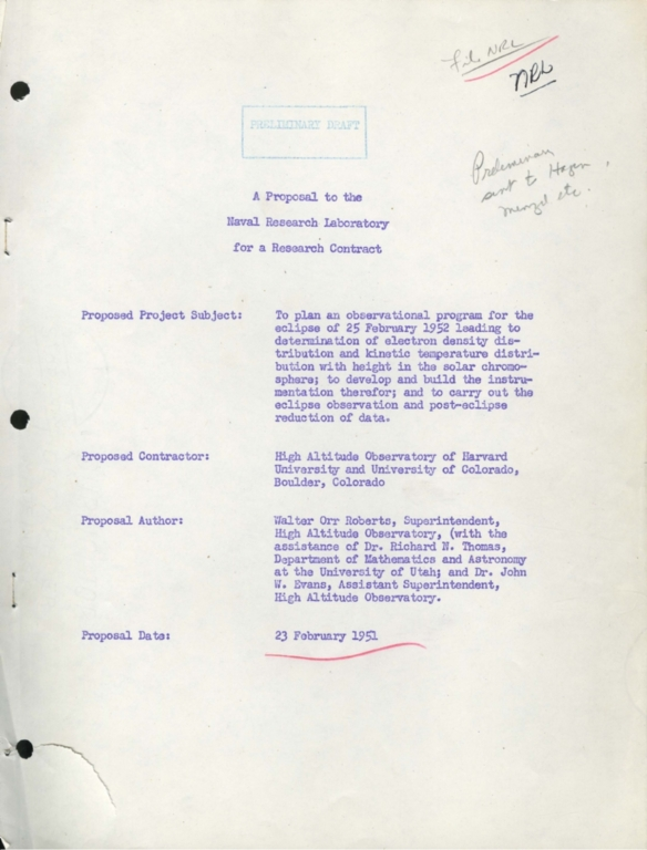 Proposal to the Naval Research Laboratory for a Research Contract: Eclipse 1952