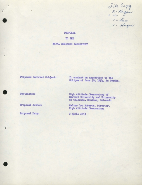 Proposal to the Naval Research Laboratory: Eclipse 1954