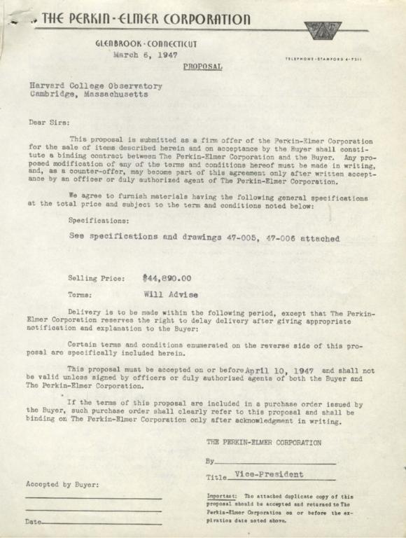 [Proposal from Perkin-Elmer Corporation]