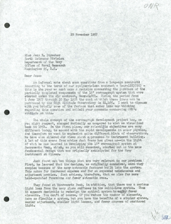 [Letter to Jean Streeter, Office of Naval Research]