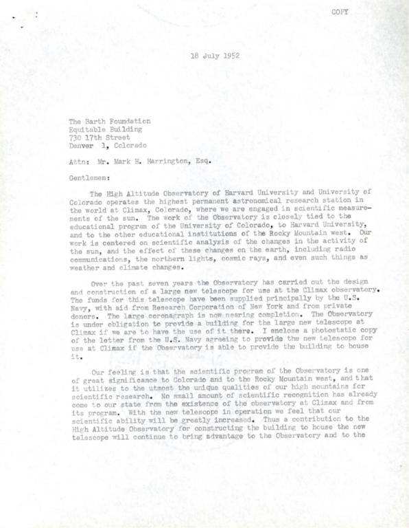 [Letter to Mark Harrington, Barth Foundation, Denver]
