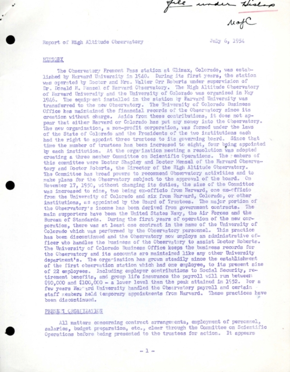 Report of High Altitude Observatory