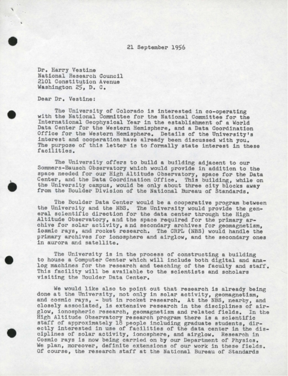 [Letter to Dr. Harry Vestine, from President Ward Darley]
