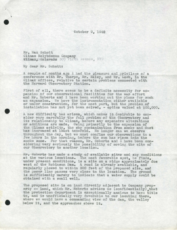 [Letter to Max Schott, Climax Molybdenum Company]