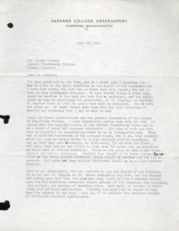 [Letter from Harlow Shapley, Harvard College Observatory]