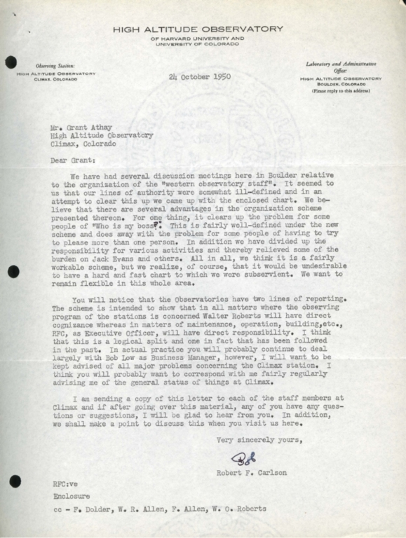 [Letter to Grant Athay from Robert F. Carlson]