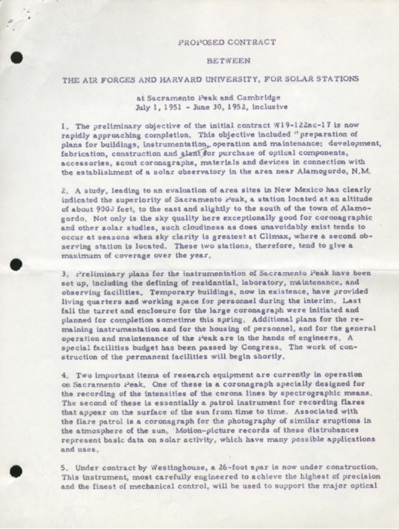 [Proposed Contract between the Air Forces and Harvard University, for Solar Stations]
