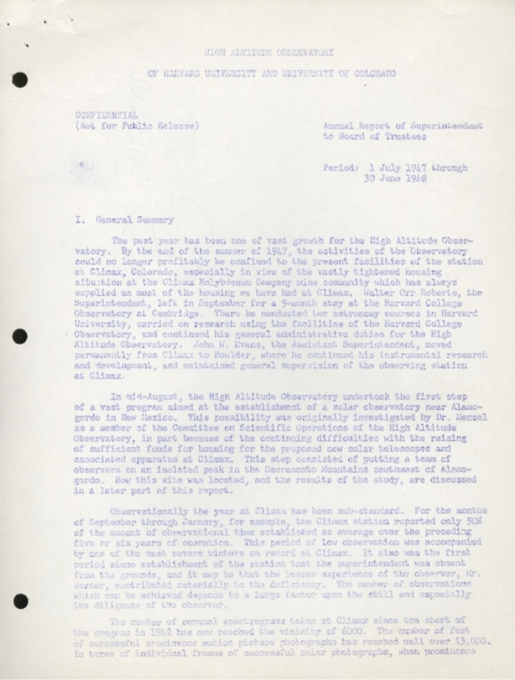 Annual Report of Superintendent to Board of Trustees: 1947-1948