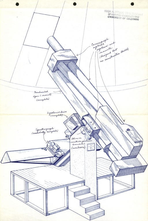 [Drawing: 6-inch aperture coronograph]