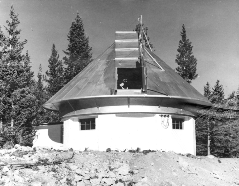 [Photograph: small observatory dome]